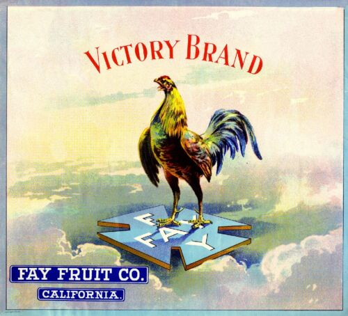 Los Angeles Victory Rooster Chicken Orange Citrus Fruit Crate Label Art Print