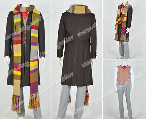 Who Cosplay Doctor Costume 4th Fourth Dr Tom Baker Suit With Scarf High Quality