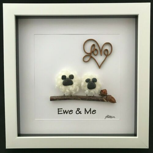 Personnalisé Pebble Art Photo Cadeau encadrée Ewe et Moi Mouton Amour