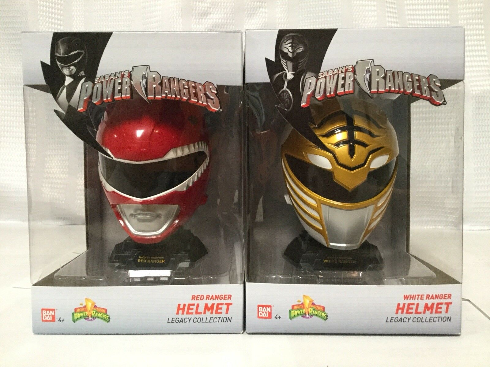 Power Rangers Legacy Legacy Legacy Collection White & Red Ranger Helmet 1 4 Scale Set Of Two 50e5fa