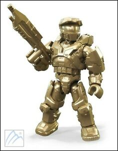 Details About Halo Mega Construx Golden Master Chief John 117 Figure 10th Anniversary Series