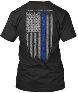 Thin-Blue-Line-Flag-Protect-Serve-Honor-Premium-Tee-T-Shirt