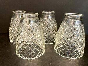 4-Vtg-Clear-Glass-Diamond-Cut-Pendant-Sconce-Light-Shade-Globe-2-1-16-034-OD-Fitte