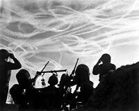 8x10 World War Ii Photo: M-51 Battery Gis Watch German Aircraft Vapor Trails