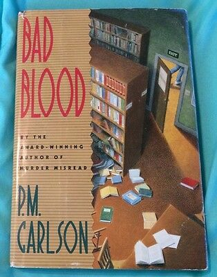 Vintage 1991 Bad Blood P.M. Carlson Hardback Book Murder Crime