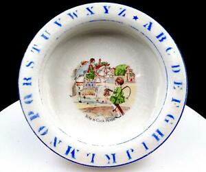 HOLDFAST-BABY-PLATE-DE-McNICHOL-RIDE-A-COCK-HORSE-ABC-RIM-8-034-CHILDS-plate-1920s