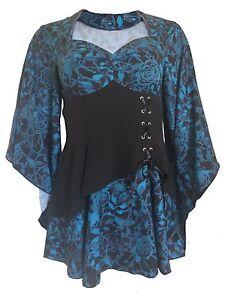 NERO-BLU-Gothic-GITANO-MEDIEVALE-manica-ANGELO-FIABE-lungo-maglia-camicia