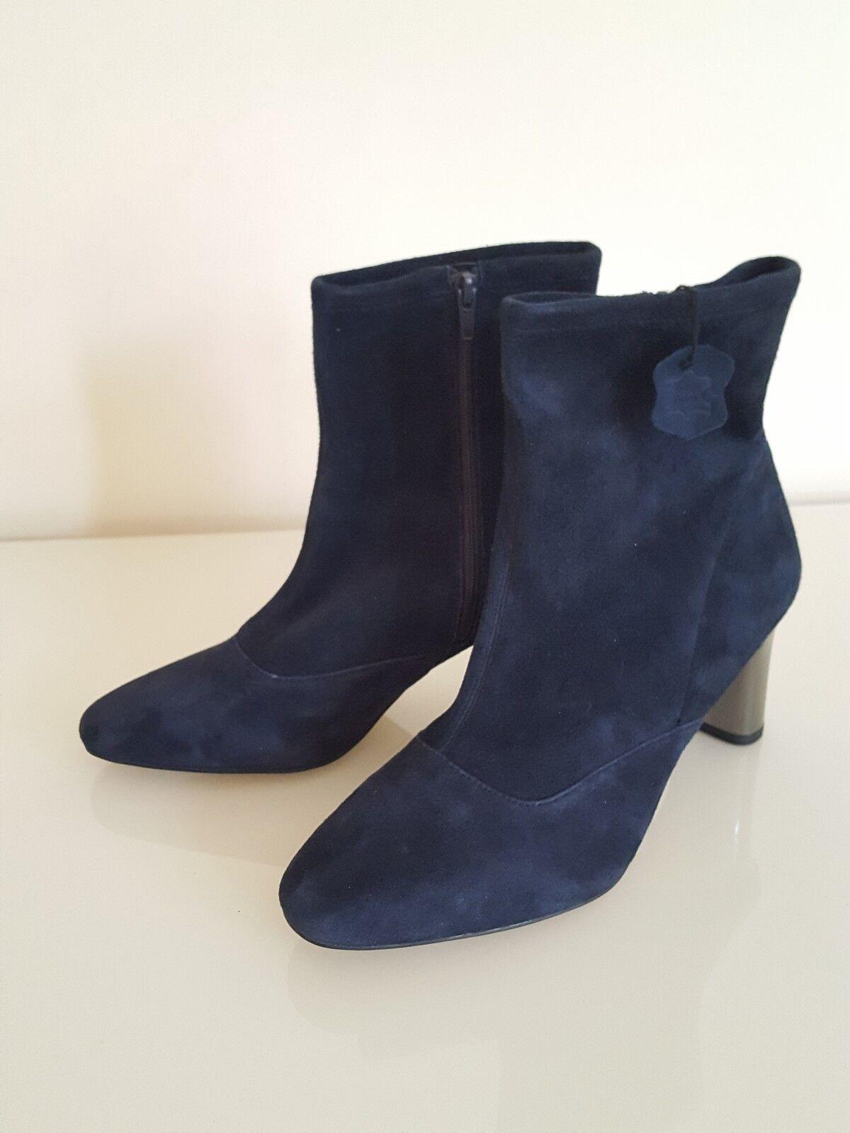 M&S AUTOGRAPH  Dark Blau Suede Side Side Side Zip Stretch Feature Ankle Stiefel  Größe UK 8 1fece3