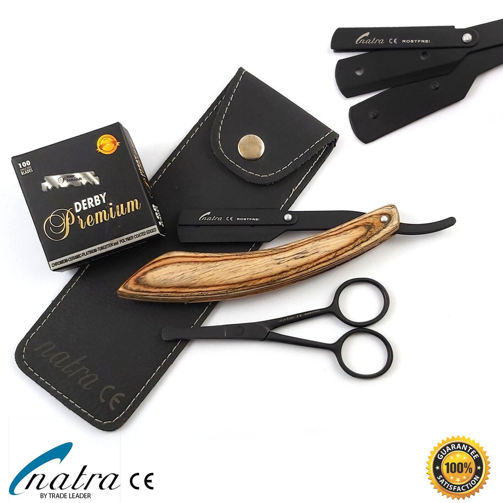 NATRA Holz Rasiermesser 100 DERBY PREMIUM Rasierklingen Bartschere Etui