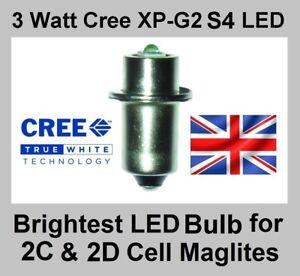 TTS Maglite Torch Cree 3 Watt XP-G2 LED Bulb Conversion Upgrade 2 D/C Cell 2d 2c