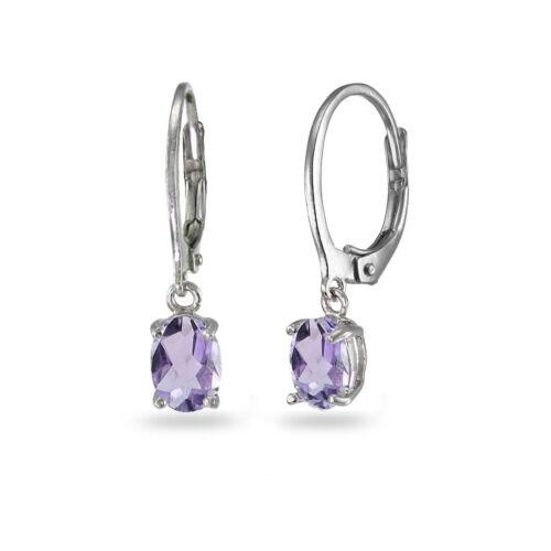 Sterling Silver Birthstone Gemstone 7x5mm Oval Dangle Leverback Earrings