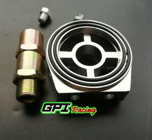Aluminum-Oil-Filter-Sandwich-Plate-Adapter-1-8-NPT-10AN-Oil-Cooler-Kit-SILVER