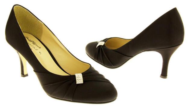 e44d37e03e03b Sabatine Womens Low Heel Black Satin Diamante Court Shoes UK 6 EU 39 Lg06 00