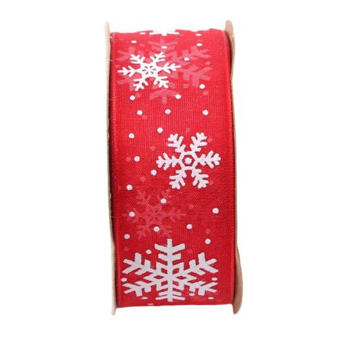 Christmas Ribbon Snowflakes Printed Gifts Box Decoration Ribbons LA