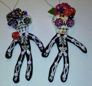 Day-of-Dead-Couple-Ornaments-Boy-and-Girl-Skeletons-Hand-Made-Felt-and-Sequins