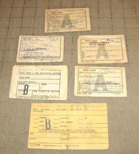 Lot of 1960's FORT JACKSON Meal /  Mess Cards - Liberty Pass - Property Card