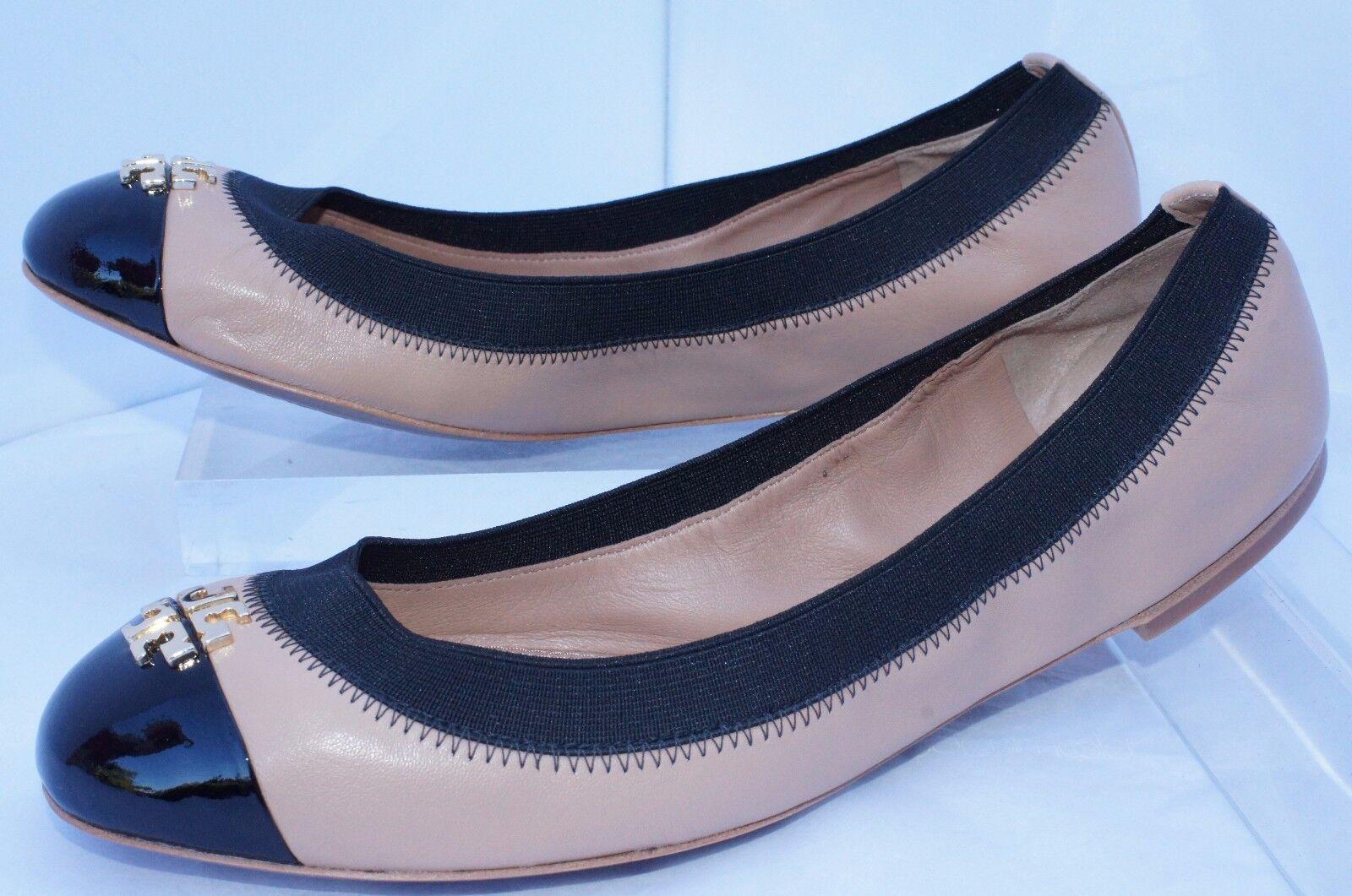 New Tory Burch Jolie Shoes Ballet Flats Beigi Black Size 6.5 Slip Ons Leather