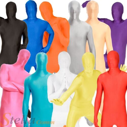 Original Colour Morphsuits Adult Halloween Fancy Dress Costume Mens Skin Outfit