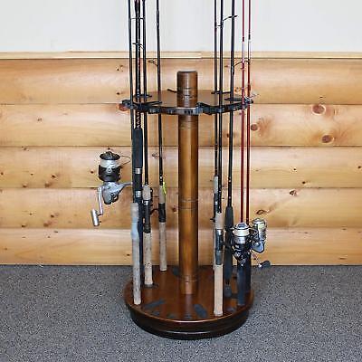 Spinning Fishing Rods Holder Dark Wood Storage Organizer 30 Fishing Pole Rack Ebay