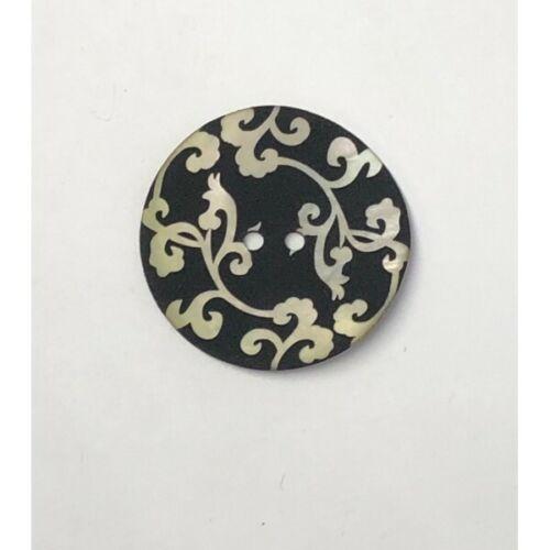 34mm Pearl Floral Vine on Black Sea Shell Round Button Italian Design
