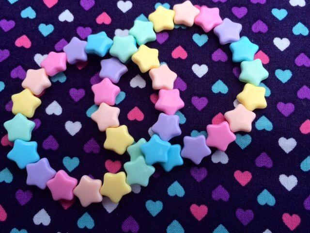 2 x Cute Rainbow Star Beaded Bracelets...Kawaii / Lolita / Fairy Kei