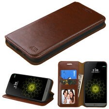 For LG G5 Leather Flip Wallet Case Cover CardPouch Stand BROWN Folio Protective