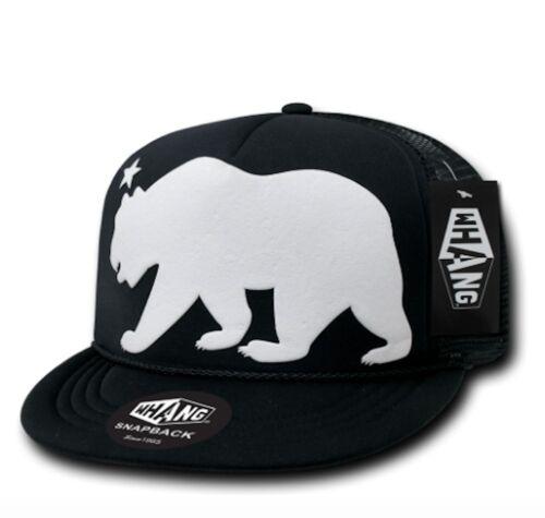 WHANG California Cali Republic Bear Trucker Snapback Hats Caps Flat Bill