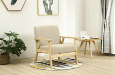 Vintage Danish Armchair Mid Century Furniture Wooden Frame Chair Fabric Seat 60s