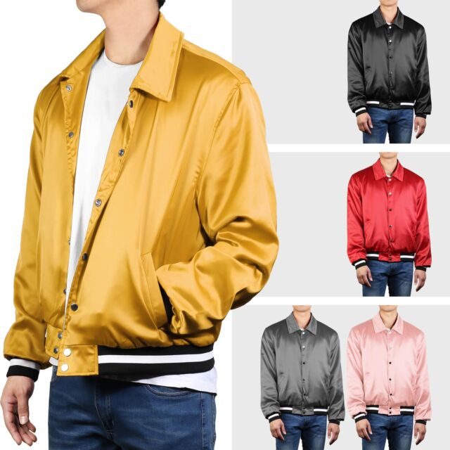 84ed93b11 Mens Bomber Jacket Casual BTS style Fashion Premium Satin Button