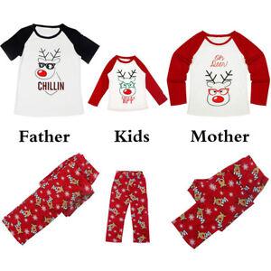 Family Matching Women Men Kids Children Sleepwear Christmas Pajamas Sets Clothes