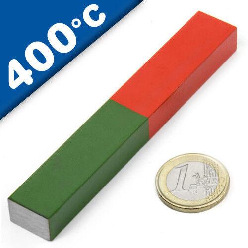 400 °C Quader Stabmagnet Schulmagnet AlNiCo 100 x 15 mm aus AlNiCo5 rot-grün
