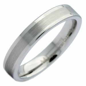 4mm White Tungsten Carbide Brush Center Flat Pipe Wedding Band Ring