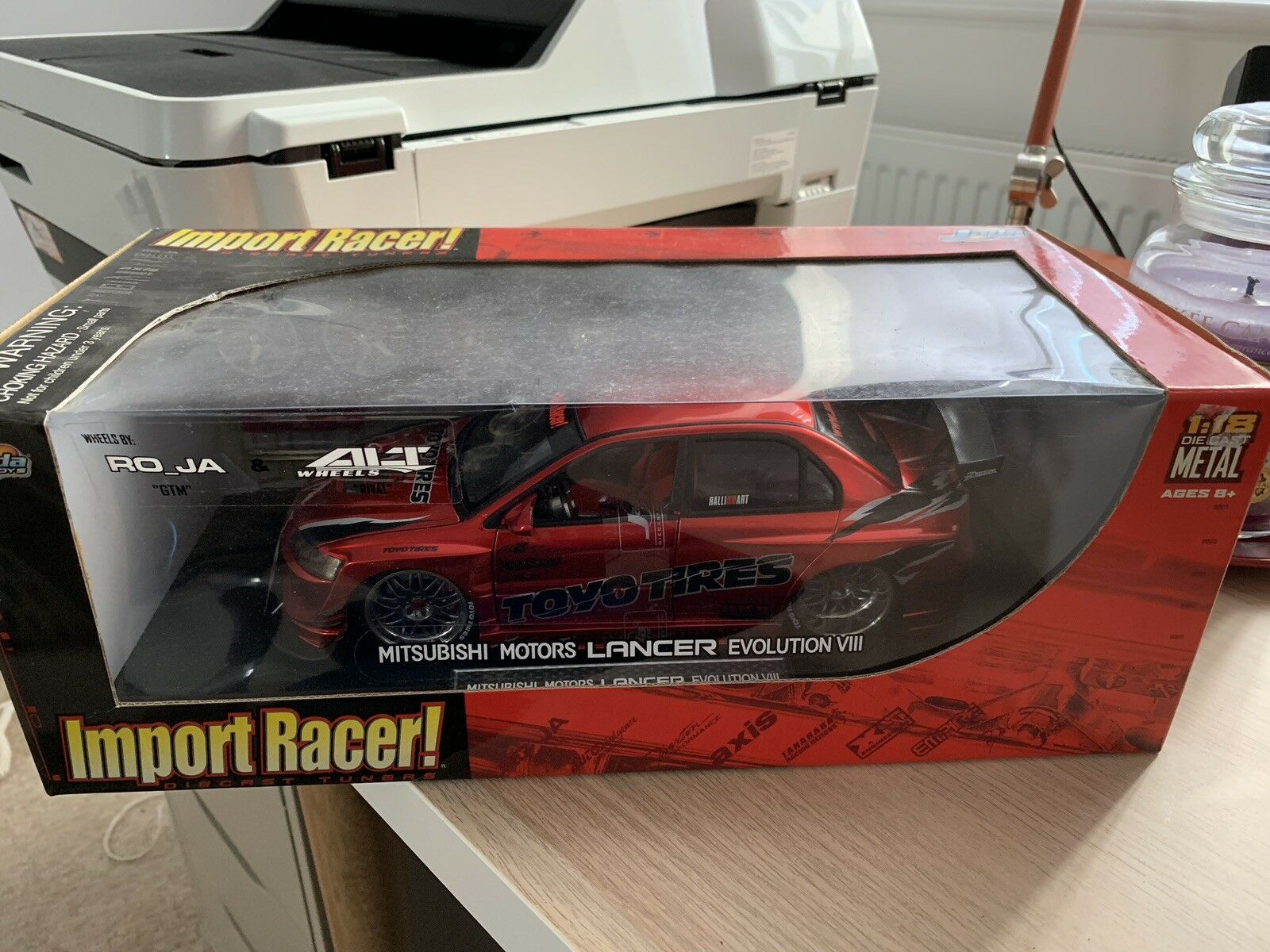 Import Racer Mitsubishi Lancer Evo VIII Toyo Tyres 1 18 Scale Diecast Car