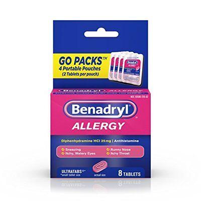 2 Pack Benadryl Allergy Ultratabs Tablets Go Packs 8 Count Each