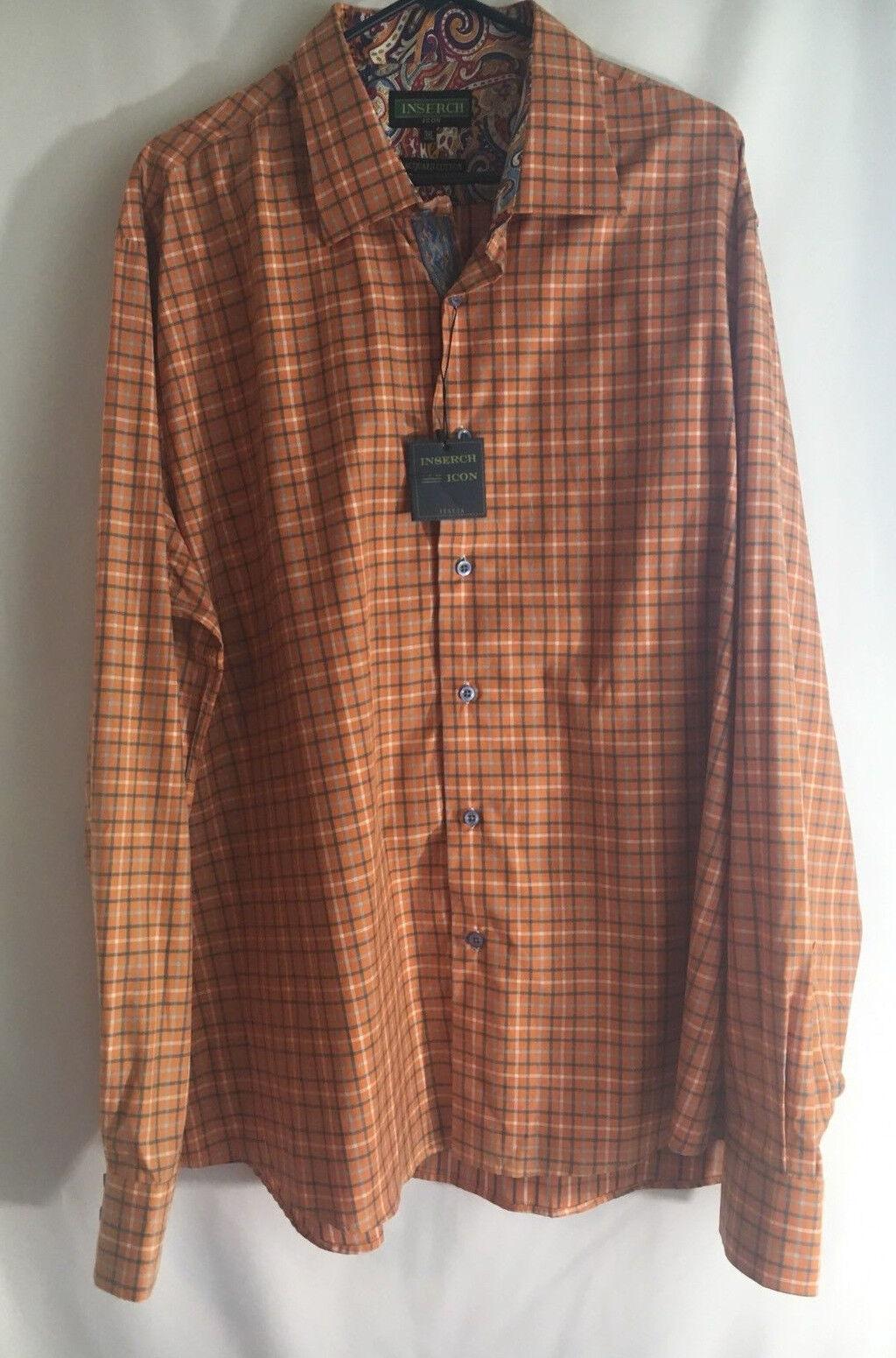 INSERCH Mens orange Plaid Long Sleeve Dress Casual Shirt size 3XL XXXL 58  Chest