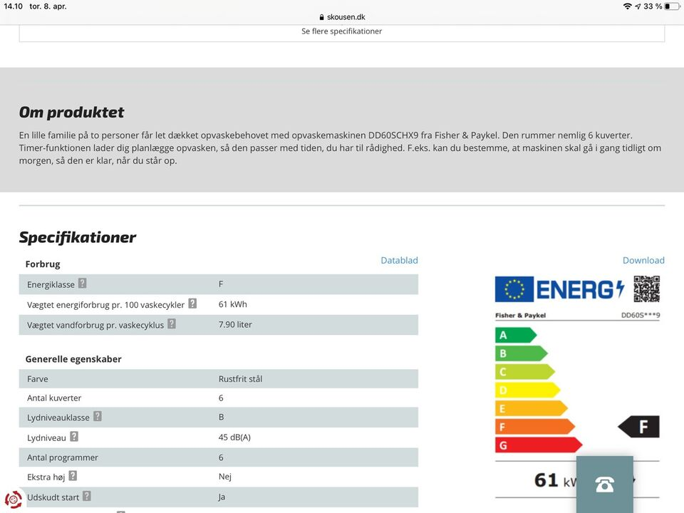 Fisher & Paykel DD60 SCHW9, indbygning, energiklasse A+