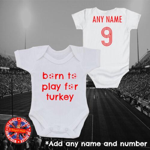 "Gift Turkey Football /""Born to play for/"" Personalised Babygrow Turkiye Turkish"