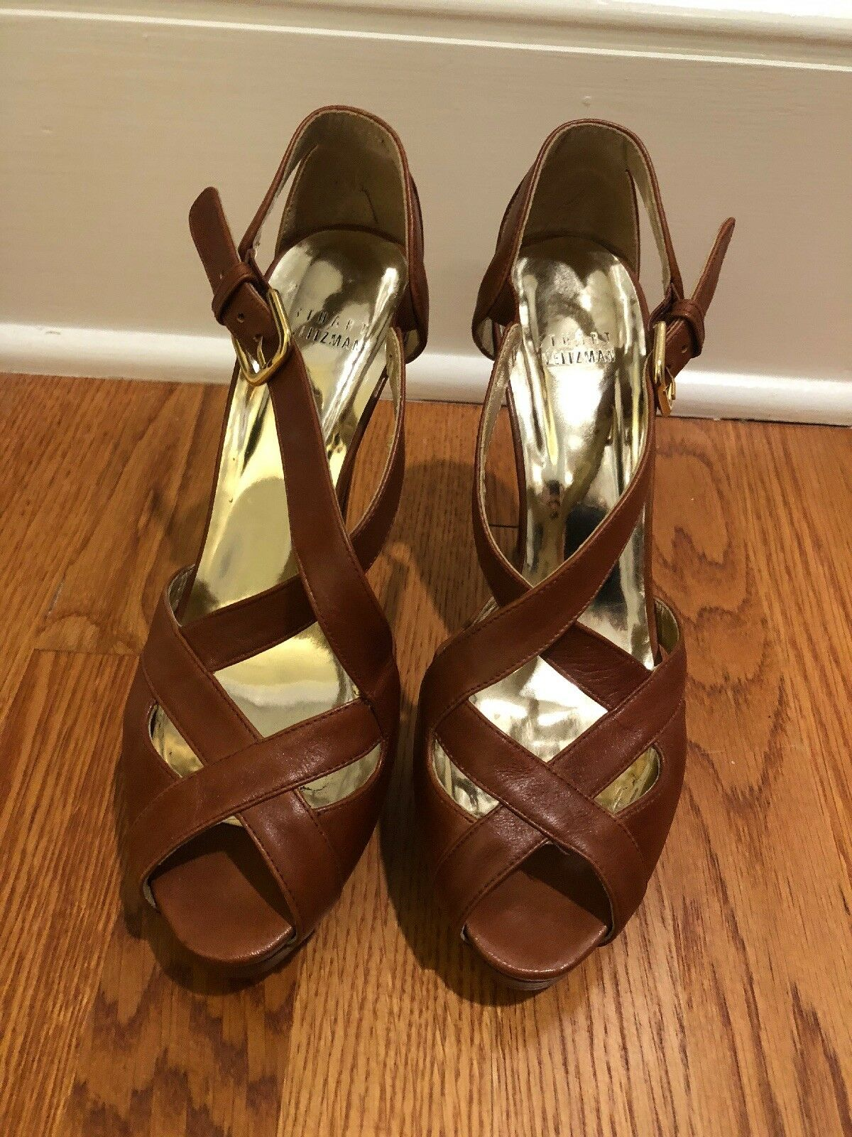 stuart weitzman platform tan Leder Sandale 7.5