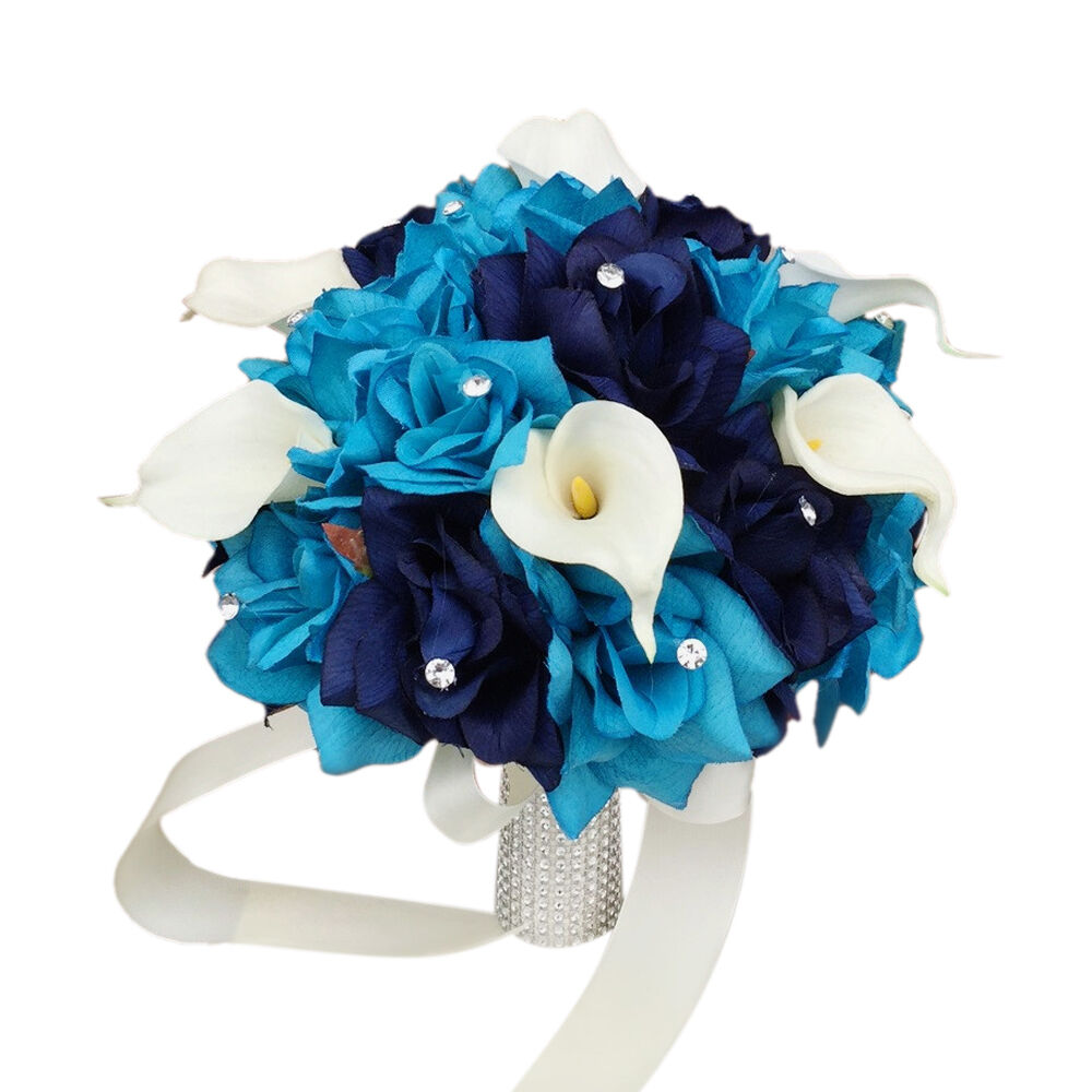 10  Bouquet   Turquoise Eggplant Silk roses real touch calla lily