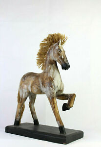 Antique-Folk-Art-Wooden-Horse-Hand-Painted-Wood-Figurine-Handmade