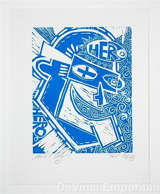 Mark T. Smith Hero Signed Limited Edition Linocut Block Print