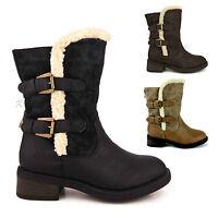 Womens Ladies Low Block Heel Fur Lined Winter Snow Calf Shoes Biker Boots Size