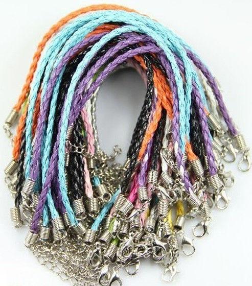 lots 10pcs mixed color genuine leather weave hemp flowers charm jewelry bracelet