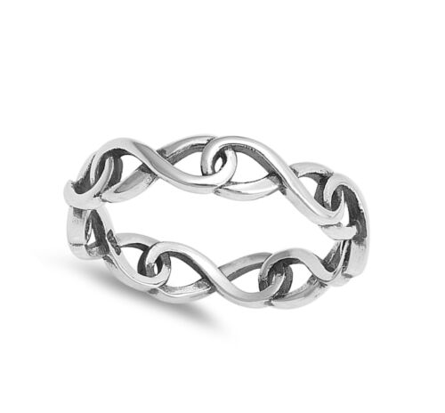Eternity Infinity Link Chain Stackable Ring .925 Sterling Silver Band Sizes 5-10