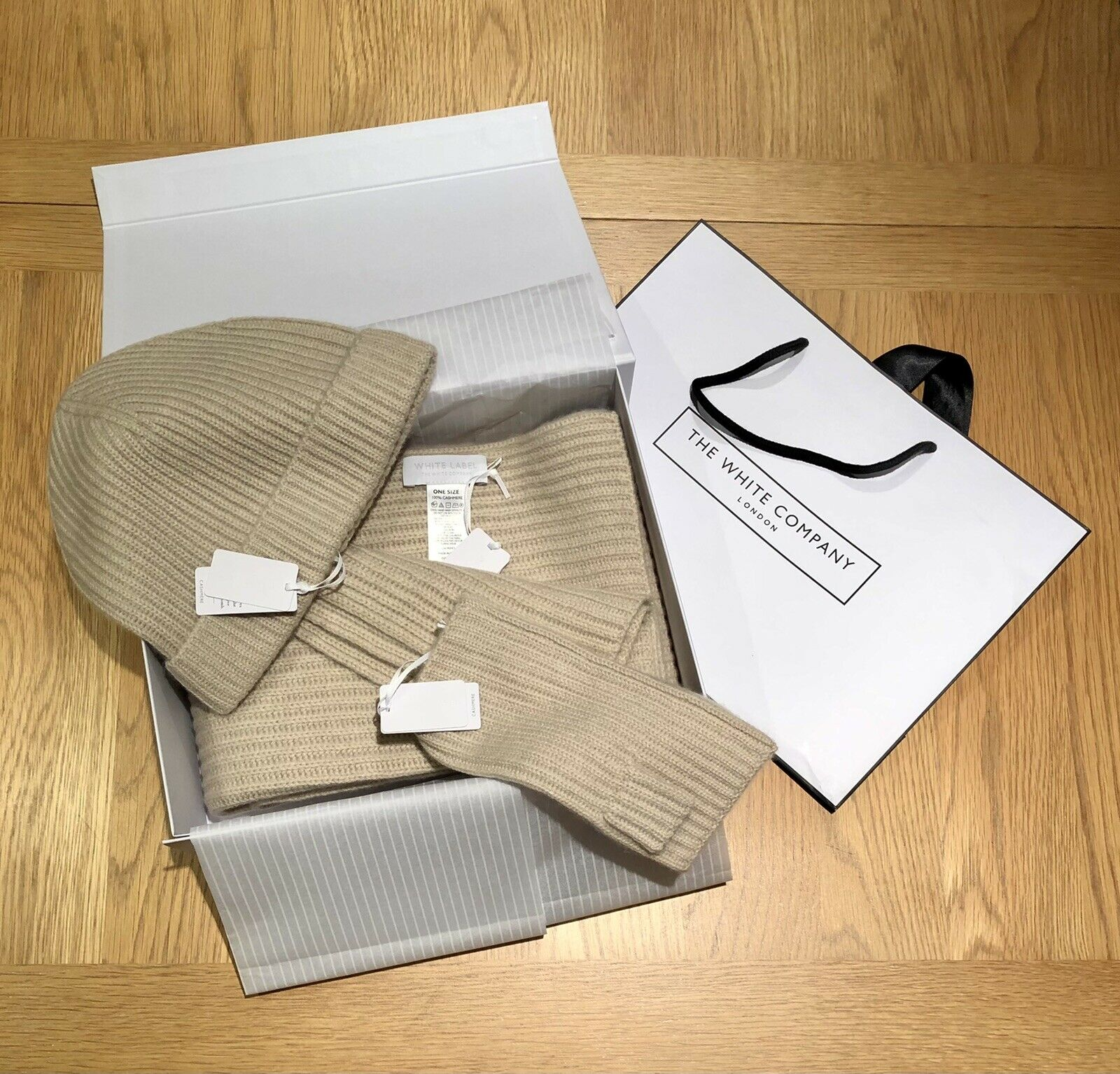 The White Company Cashmere Ribbed Scarf, Hat & Wrist Warmers Gift Set, RRP