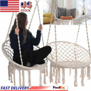 Details About Macrame Hammock Hanging Chair White Wood Swing Room Decor For Indoor Outdoor