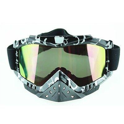 Quad Dirt Bike Tinted Motocross Racing Goggles Glasses UV Protection Anti-Fog