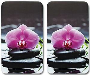 herdabdeckplatten herd ceranfeld abdeckplatten lila orchidee 2er blumen neu ebay. Black Bedroom Furniture Sets. Home Design Ideas