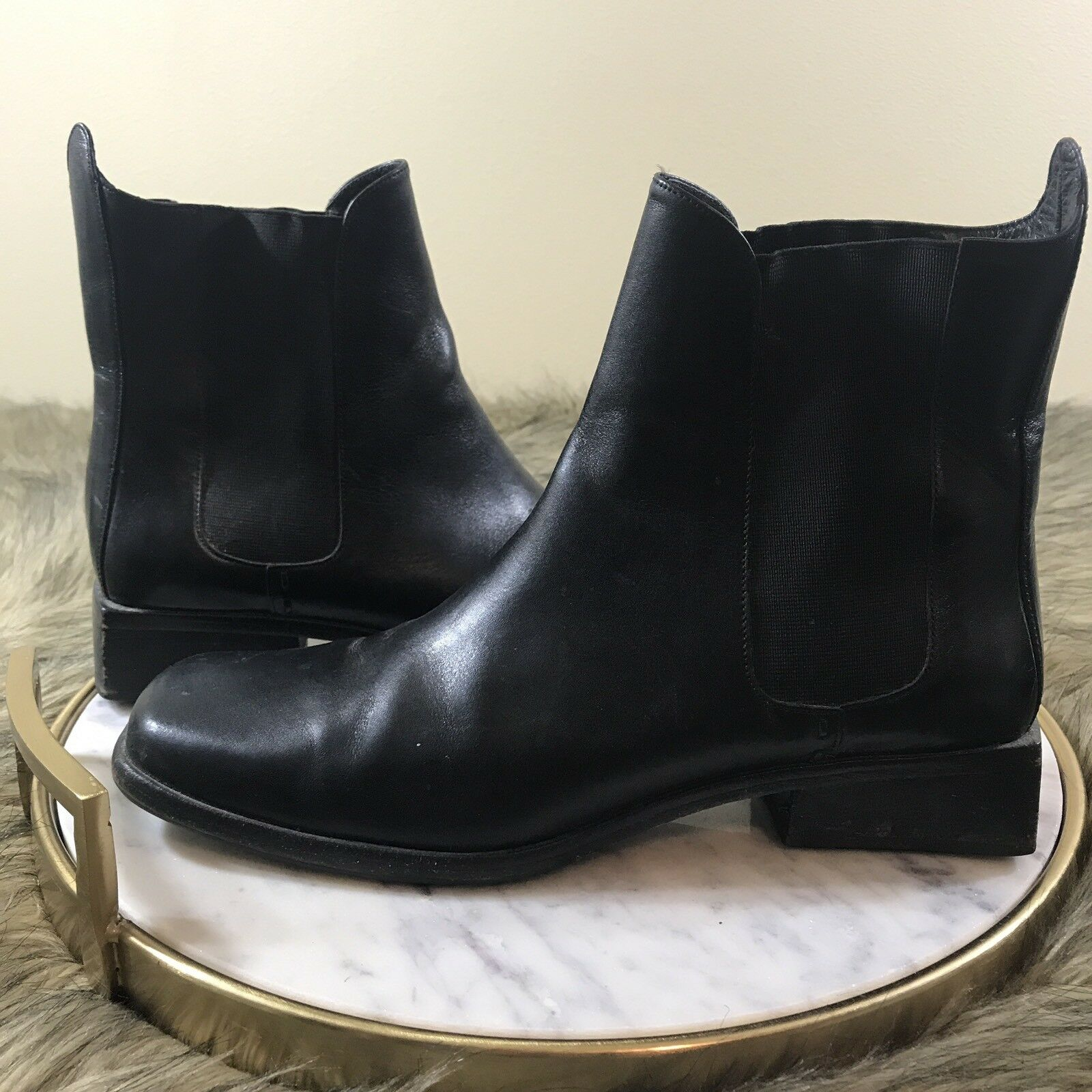 Cole Haan Women's Sz 9 Black Leather Low Block Heels Pull On Ankle Boots Booties