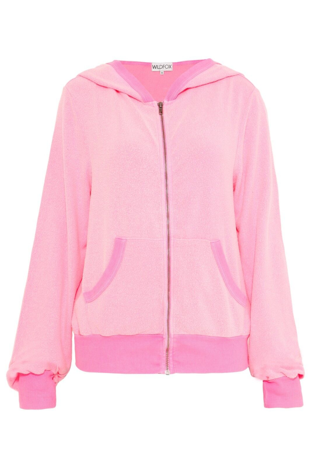 Wildfox sweatshirt, zip, basics, long sleeve, baggy, baggy, baggy, hoodie, pink, new, s. s 6bc3d2